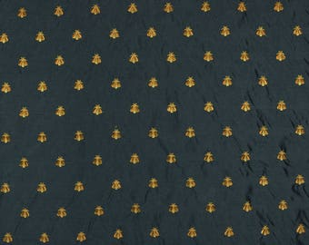 Black Gold Embroidered Bee Fabric Bumble
