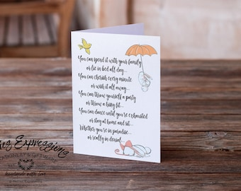Birthday Card, Greeting Card, Card, Birthday Card, Happy Birthday Card, You can spend it with your family, Humor, cherish every minute