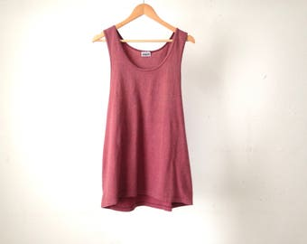 vintage 90s faded RED vintage COTTON tank top made in U.S.A.