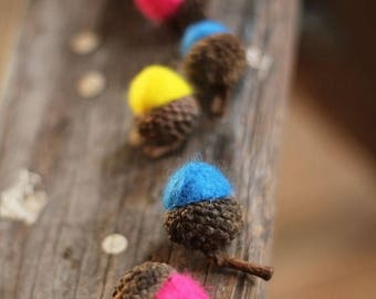 ON SALE CANDY Colored Wool Felted Acorns set of 12