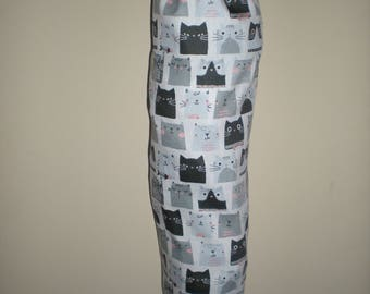 Plastic/Storage bag holder retro black white grey cats print NEW great gift idea Australian handmade cotton fabric