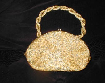 Vintage Gold Beaded Evening Purse by WALBORG