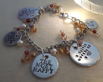 Anne Boleyn Handstamped Tudor Glass Bead Charm Bracelet