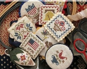 Festive Little Fobs Five, Americana Edition : Cross Stitch Pattern by Heartstring Samplery