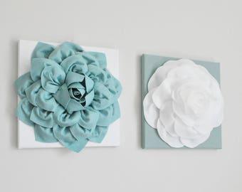 Dusty Blue Art Set, Powder Blue Art, Blue Kitchen Art, Blue Flowers, Nursery, blue kitchen decor, Bathroom Decor, Flower Art, Rose Hanging