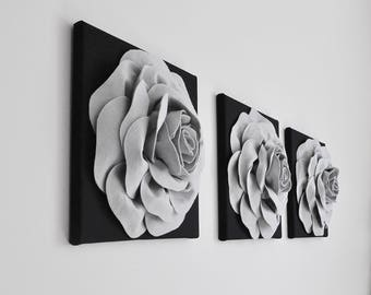Silver Textured Rose Wall Art, Dorm wall art, Modern Contemporary Wall Art, Flower Prints,Gray and Black Canvas Wall Set, Housewarming Gift
