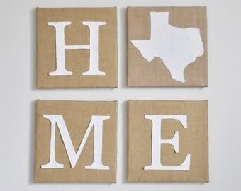 Home State Burlap Sign. Custom Home Burlap Sign. Custom Burlap Texas Home. Custom State Sign Burlap Sign Gift. Custom State Sign. Home Gift.