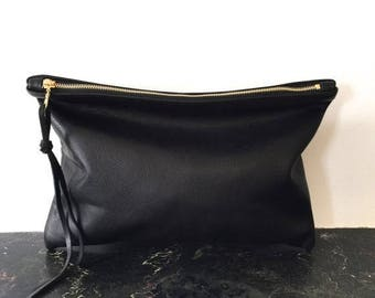summer sale Oversized Black Leather Clutch - Large Leather Clutch - Ipad Clutch - black leather Carryall tote