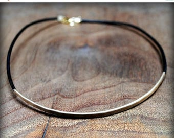 Leather and Gold Choker Necklace - Base Layer Collection