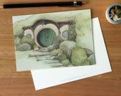 Hobbit Hole 2 - Art Postcard. Watercolour Illustration. Girls. Stationary. Bag End