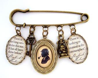 Sherlock Brooch- Sherlock Holmes Jewellery- Sherlock Jewellery- Literary Gift- Book Jewellery- Quote Jewellery- Book Lover Gift- Reader Gift