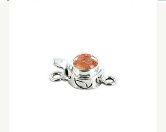 Summer Sale : ) SUNSTONE CLASP STERLING Round 7.5mm NewWorldGems