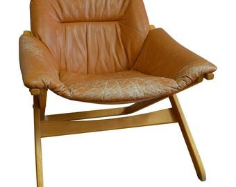 Lounge Chair of Leather with Maple Frame from Mobel of Sweden, circa 1960s