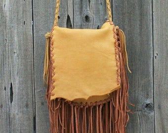 ON SALE Fringed leather handbag , Fringed gypsy bag , Fringed leather purse , Leather handbag with fringe