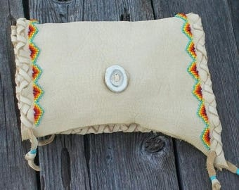 ON SALE Beaded leather clutch , Handmade leather clutch ,  Leather clutch purse , Soft leather phone case