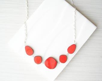Coral Orange Necklace, Bib, Czech Glass Jewlery, Nickel Free Sterling Silver Option, Modern, Simple, Adjustable