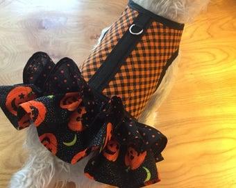 Halloween Check and ruffle Small Dog Harness Made in USA, dog harness, dog harnesses