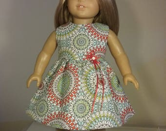 18 inch Doll Clothes Coral Teal Kaleidoscope Print Dress fits American Girl Doll Clothes Handmade