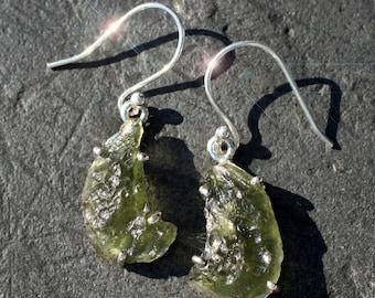 Gems from the Sky - Extraterrestrial Moldavite Sterling Silver Earrings