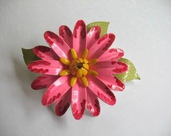 Vintage Enamel Flower Brooch ~ Pink