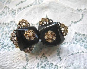 Vintage Rhinestone & Bl Plastic Earrings ~ Screwback