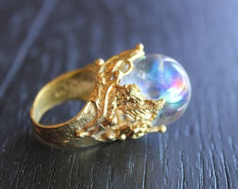 Aura Quartz Ring Aura Quartz Jewelry Crystal Ball Ring Crystal Ball Jewelry Fortune Teller Ring Fortune Teller Jewelry Aura Crystal Ring