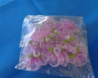 Crafts. Little package of 10 fabric and chiffon roses for sewing decoration or barrettes