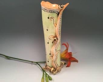 Pottery vase/bird vase/music vase/handmade vase/birds/bird vase/bird art/music notes/pottery with music/birthday gift/gold finch