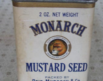 Vintage Monarch Spice Tin Mustard Seed Reid Murdoch & Co Chicago Paper Label