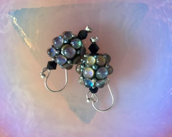 Earrings: lampwork glass beads hobnail