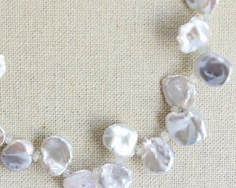 Large Keishi Pearl Necklace, Silvery White, Pearl Necklace, Aquamarine Gemstone Necklace, Large Cornflake Pearl, 18 inch