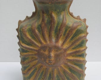 Clay Pottery Vase, Raised Sun Design Vase