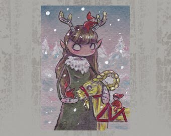 Antler girl and gnomes - Original ACEO, Marker illustration