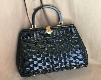 Vintage 60's Black Handbag, Black Woven Purse with Top Handle, 50's Retro Style Summer Purse, Rockabilly Style, Vegan Friendly