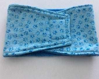 Belly Bands for Male Dogs - Belly Band - Male Dog Diapers - Male Dog Belly Band - Blue Paw Prints on Blue  - Available in all sizes