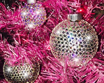 Sparkly Crystal Bling Disco Ball Handmade Christmas Tree Glass Holiday Ornament bedazzled with Swarovski Crystal