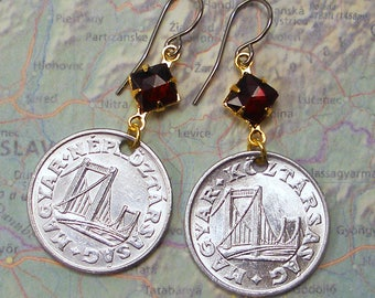 Hungary, Authentic Coin Earrings -- Buda and Pest -- Elisabeth Bridge - Budapest - World Travel - Engineering - Danube River - River Cruise