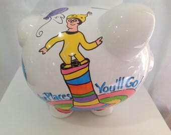 Personalized Large Piggy Bank Dr. Seuss Oh !The Places You'll Go! Newborns,Flower Girl, Ring Bearer,Christening,Baby Shower Gift Centerpiece