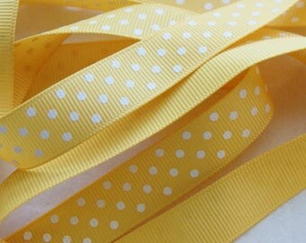 "5 yards, 5/8"" Yellow with White Polka Dot Ribbon Trim  (PD 3)"