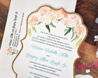 Coral and Peach Watercolor Flowers Die Cut Invitation with Gold glitter backing and Aqua Blue accents or your colors
