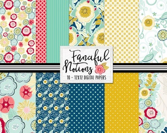 Bold Floral Pattern Digital Paper Set, Commercial Use Background Papers, Fanciful Notions Retro Kitchen, Dots & Flower Patterns
