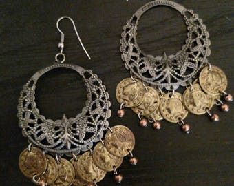 Vintage Metal Silver Filigree Gypsy Coin Dangle Earrings with copper Bobbles Boho