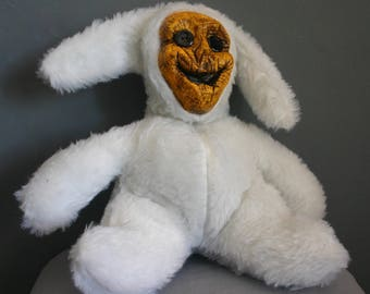 Stuffed Animal Handmade White Bunny Scarecrow Creepy Stuffed Toy