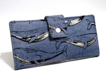 Handmade long women wallet - Happy whales on dark blue - Ready to ship - clutch purse - Gift ideas for her - denim blue and white