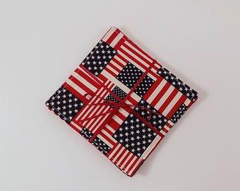 American Flag Fabric Coaster Pair Mug Mats Set of Fabric Drink Coasters Patriotic Americana Fabric Coasters