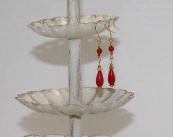Quality Fire Engine Red Czech Glass Earrings, Gold-Filled Earwires, Victorian, Civil War Appropriate - Affordable Elegance