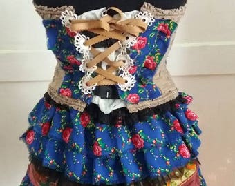 Dress, gypsy dress, outfit, bohemian, eco chic, upcycled, layers and frills, skirt and bustier, flower skirt, dance noire fusion, festival