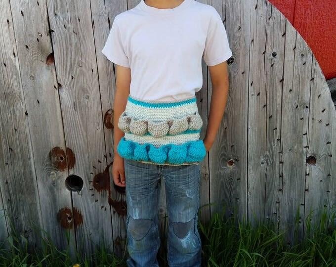 Ready to Ship,Original Egg Apron,Child Apron,Child Egg Apron,Crochet Half Apron,Camouflage,Boy Egg Apron,Camo,Egg Collecting,Egg Gathering