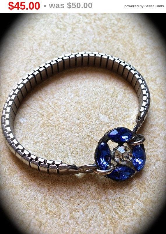 Summer Sale Sapphire Blue Rhinestone Watchband Bracelet- Something Blue Bracelet- Assemblage Handmade Bracelet- Cobalt Blue- Stretch band