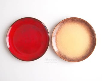 Jade Snow Wong Red and Yellow Speckled Enameled Copper Pin Dish Plates San Francisco